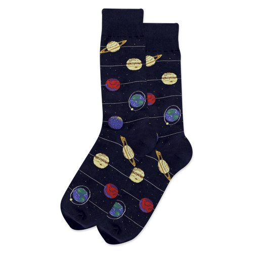 "Unisex ""Solar System"" Cotton Crew Socks by Hot Sox"