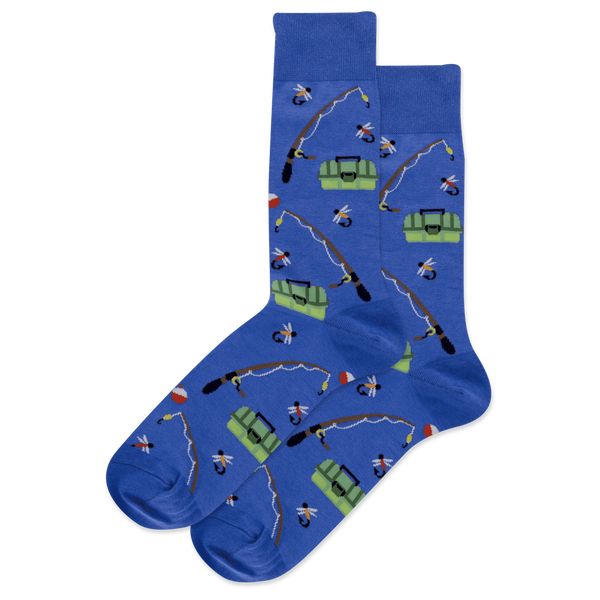"Men's ""Fishing"" Cotton Crew Socks by Hot Sox"