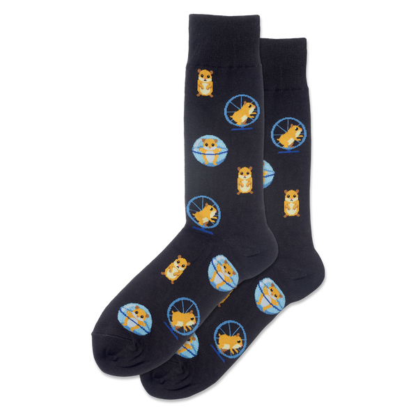 "Unisex ""Hamster Wheel"" Cotton Dress Crew Socks by Hot Sox"
