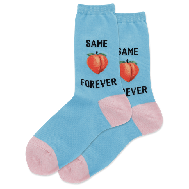 "Unisex ""Same Peach Forever"" Cotton Crew Socks by Hot Sox"