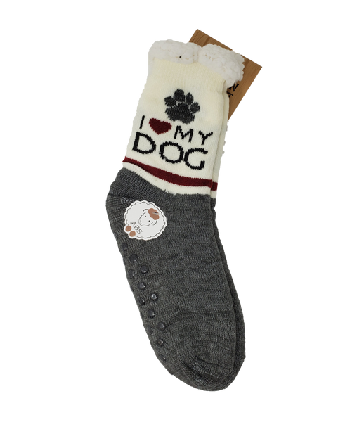 "Northern Comfort Adult ""I love my dog"" Sherpa-Lined Grip Slipper Socks"