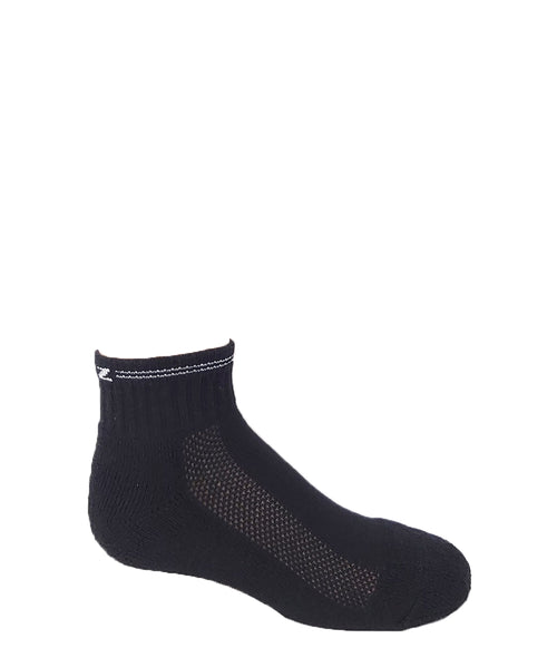 Kid's Black Cotton Ankle Sports Socks - 3PK
