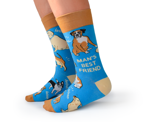 "Men's ""Man's Best Friend"" Cotton Crew Socks by Uptown Sox"