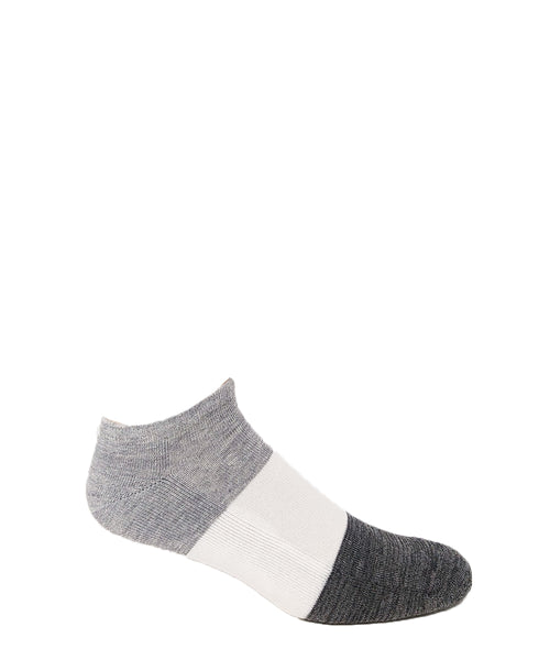 Silver Cotton Ankle Striped Casual Socks