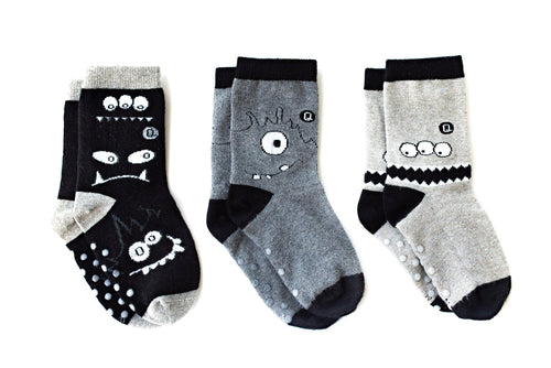 "Q for Quinn ""Monochrome Monsters"" Toddler Socks (3 pairs)"