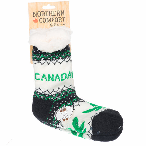 "Northern Comfort Adult ""Canada Marijuana Pot"" Slipper Socks"