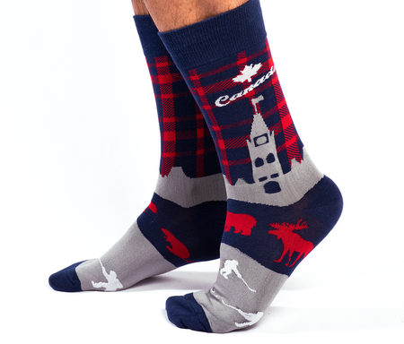 "Unisex ""Poutine Eh"" Cotton Crew Canadian Socks by Uptown Sox"