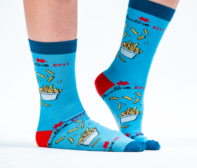 "Women's ""Poutine Eh"" Cotton Crew Canadian Socks by Uptown Sox"