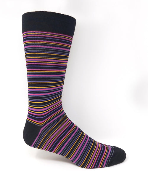 Vagden Men's Pink Stripe Cotton Dress Sock