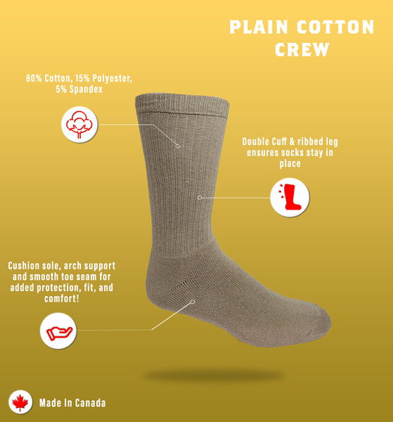 J.B. Field's Casual Organic Cotton Crew Cushioned Sock (Large)