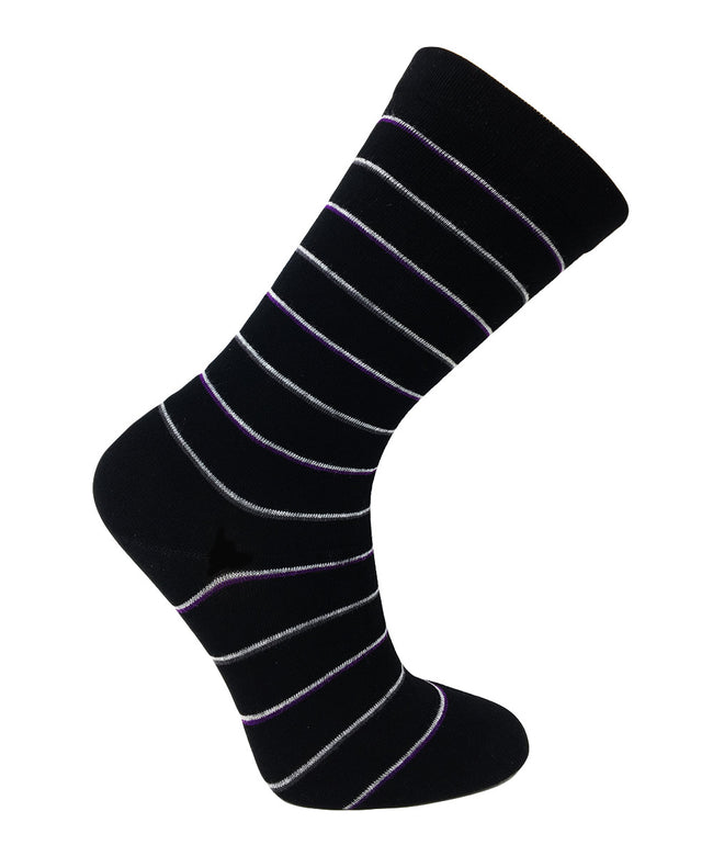 Wellness Women's Bamboo Non-Elastic Multi-Stripe Pattern Socks