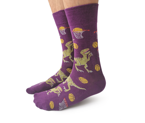 "Men's ""Dino Basketball"" Cotton Crew Socks by Uptown Sox"