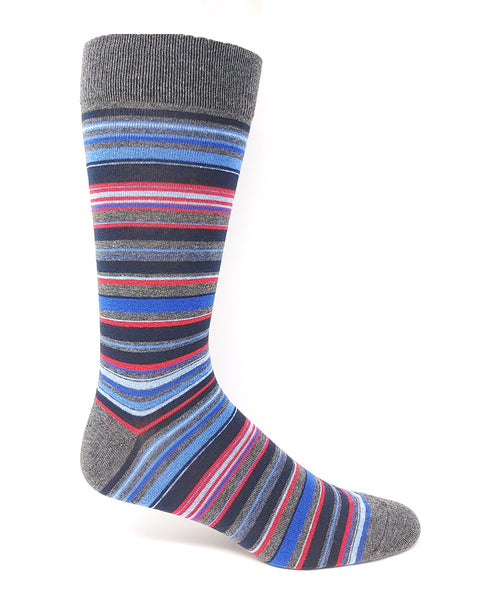 Vagden Men's Blue & Red Stripe Cotton Dress Sock