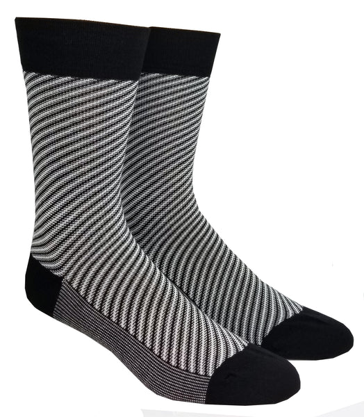 Striped bamboo crew sock