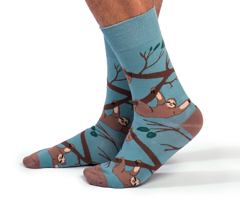 "Men's ""Slothin Around Socks"" Cotton Crew Socks by Uptown Sox"