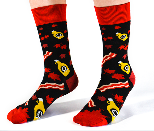 "Men's ""Sugar Shack Bacon"" Cotton Crew Canadian Socks by Uptown Sox"