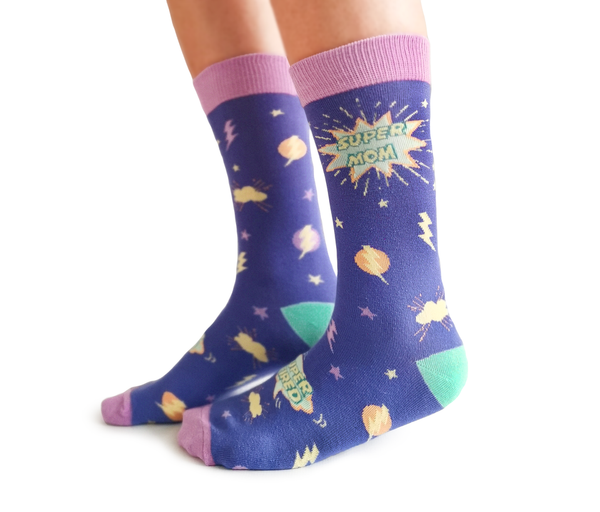 "Women's ""Super Mom"" Cotton Crew Socks by Uptown Sox"