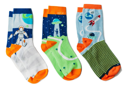 "Q for Quinn ""Out of This World"" Anti-Slip Mix and Match Toddler Socks (3 pairs)"