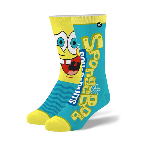 "Men's ""Spongebob Big Face"" Cotton Crew Socks by ODD Sox"