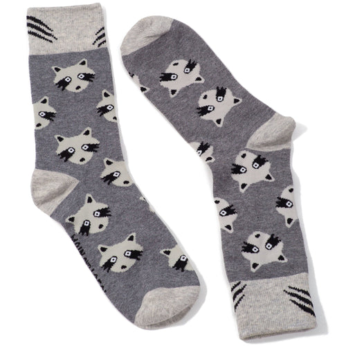 Racoon Cotton Crew Socks by Main & Local