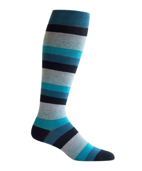 blue striped compression socks