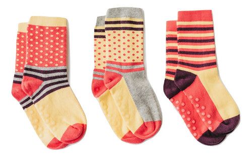 "Q for Quinn ""Types of Stripes"" Anti-Slip Mix and Match Toddler Socks (3 pairs)"