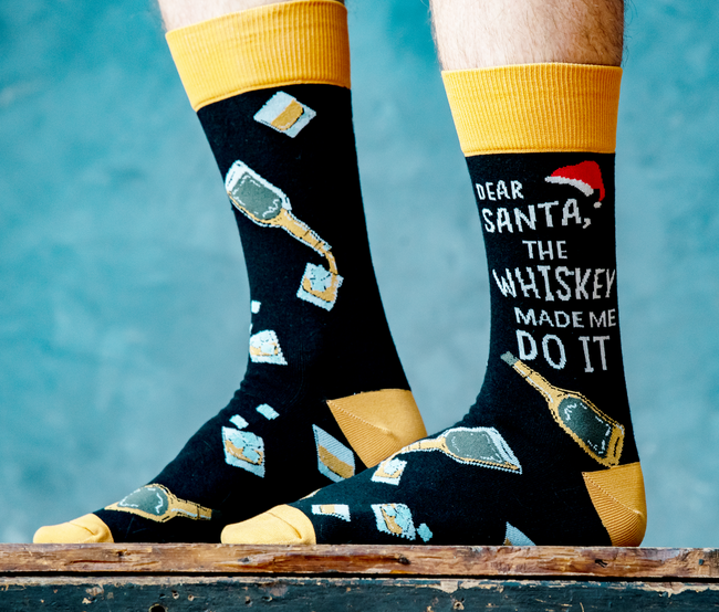 Christmas whiskey socks