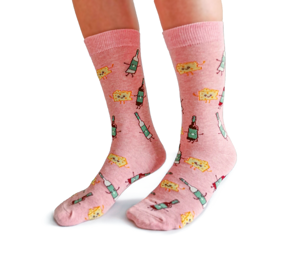 "Women's ""Wine & Cheese"" Cotton Crew Socks by Uptown Sox"
