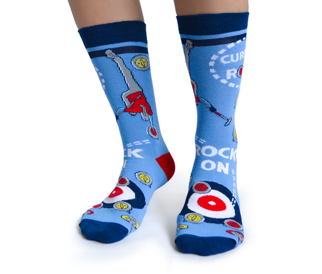 "Unisex ""Curling Rocks"" Cotton Crew Canadian Socks by Uptown Sox"