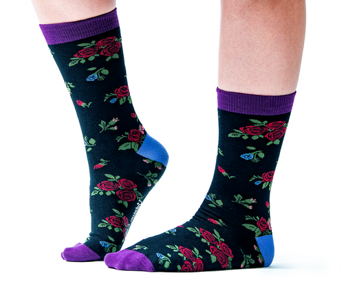 "Women's ""Roses"" Cotton Crew Socks by Uptown Sox"