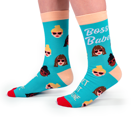 "Women's ""Boss Babe"" Cotton Crew Socks by Uptown Sox"