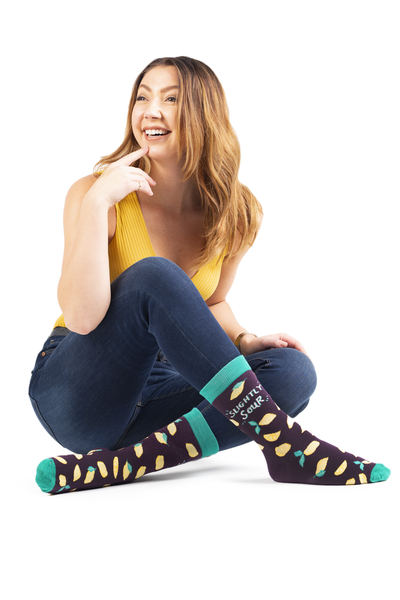 "Women's ""Slightly Sour"" Cotton Crew Socks by Uptown Sox"