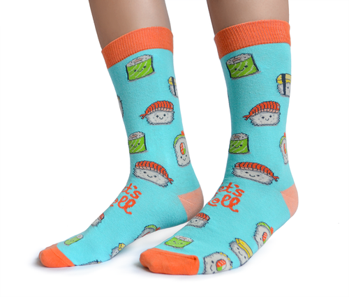 "Women's ""Sushi Roll"" Cotton Crew Socks by Uptown Sox"