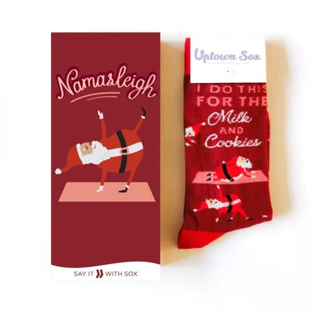 "Unisex ""Santa and Rudolph"" Cotton Crew Socks by Good Luck Sock"