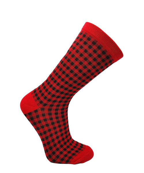 Women's Red Plaid Cotton Casual Sock by Point Zero