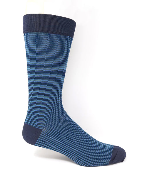 "Vagden Men's Blue ""Zigzag Stripe"" Bamboo Dress Socks"