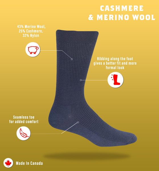 J.B. Field's Casual Cashmere/Merino Blend Ribbed Dress Sock