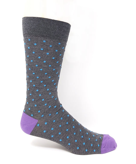 Vagden Men's Dot Pattern Brown Cotton Dress Sock