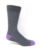 Vagden Men's Pin Dot Grey Bamboo Dress Socks