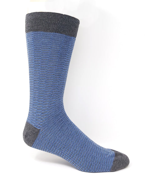 "Vagden Men's Light Blue ""Zigzag Stripe"" Bamboo Dress Socks"