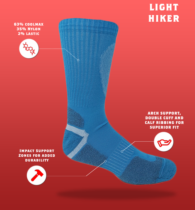"J.B. Field's ""Light Hiker"" Colorful Crew Coolmax Hiking Sock"