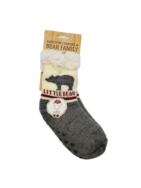 "Northern Comfort Adult ""Papa Bear"" Sherpa-Lined Slipper Socks with Grippers"