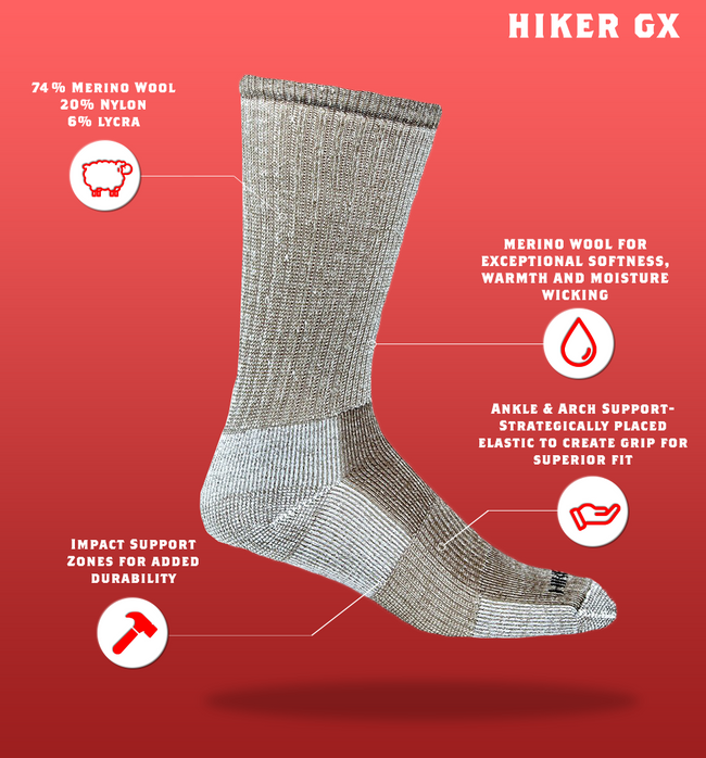 "J.B. Field's ""Hiker GX"" 74% Merino Wool Hiking Crew Sock"