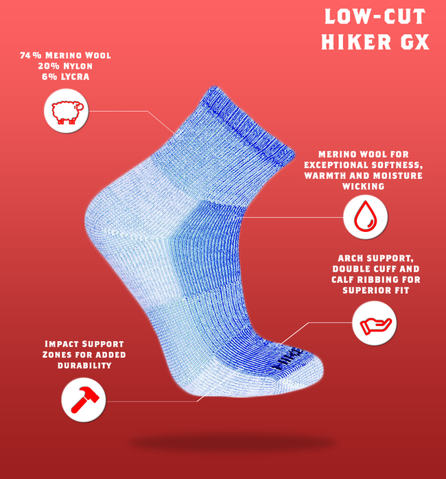 "J.B. Field's Hiking ""Hiker GX"" Colourful 74% Merino Wool Low-Cut Sock"