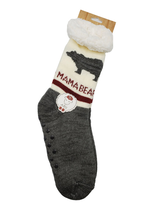 "Northern Comfort Adult ""Mama Bear"" Sherpa-Lined Grip Slipper Socks"