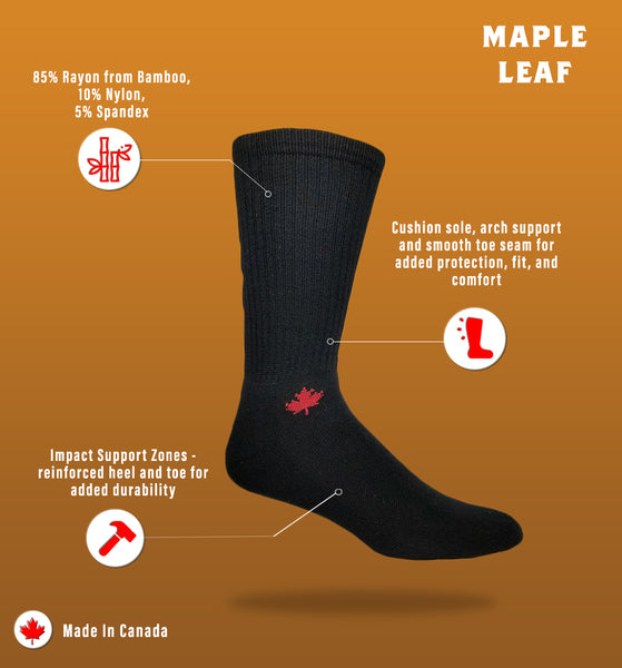 "J.B. Field's Athletic ""Canadian Maple Leaf"" Bamboo Crew Sock"