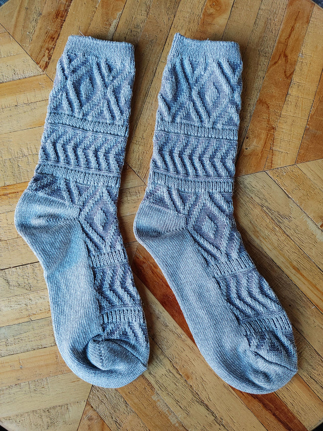 Silver Jeans Co. Women's Grey Boot Sock with Diamond Pattern