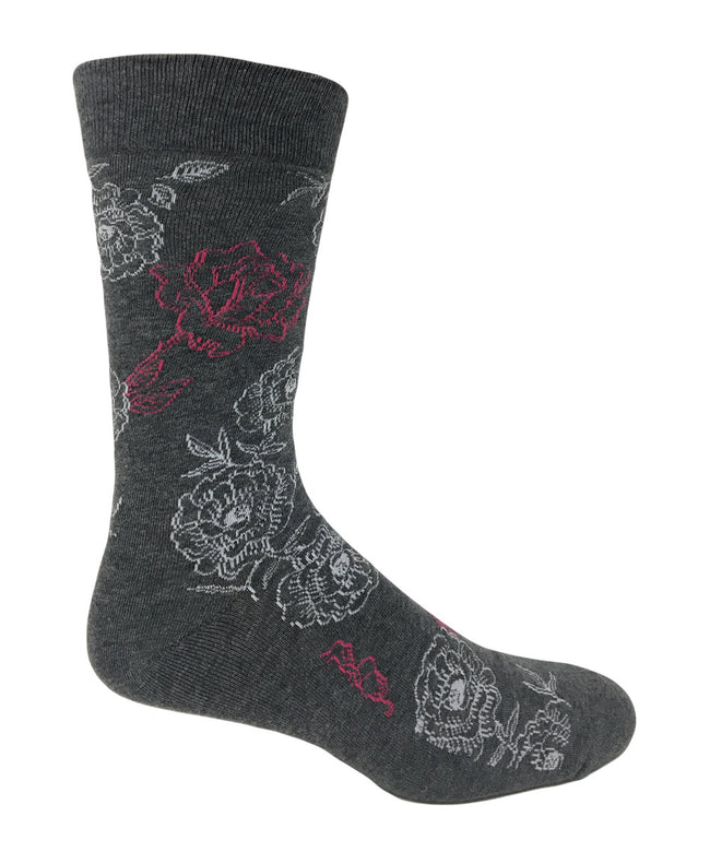 Vagden Men's Floral Pattern Cotton Dress Sock