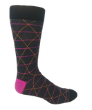Vagden Men's Pink Geometric Cotton Dress Sock