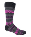 Vagden Men's Bold Dot & Stripe Pink Cotton Dress Sock